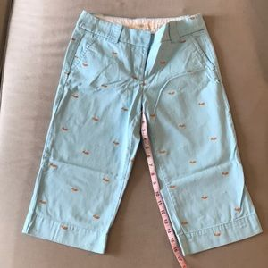 Blue J. Crew capris with whale embroidery